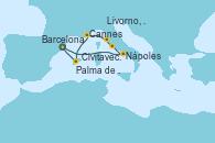 Visitando Barcelona, Nápoles (Italia), Civitavecchia (Roma), Livorno, Pisa y Florencia (Italia), Cannes (Francia), Palma de Mallorca (España), Barcelona