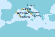 Visitando Civitavecchia (Roma), Livorno, Pisa y Florencia (Italia), Cannes (Francia), Palma de Mallorca (España), Barcelona, Nápoles (Italia) y Civitavecchia (Roma)