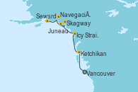 Visitando Vancouver (Canadá), Ketchikan (Alaska), Icy Strait Point (Alaska), Juneau (Alaska), Skagway (Alaska), Navegación por Glaciar Hubbard (Alaska), Seward (Alaska)