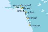 Visitando Seward (Alaska), Navegación por Glaciar Hubbard (Alaska), Juneau (Alaska), Skagway (Alaska), Icy Strait Point (Alaska), Ketchikan (Alaska) y Vancouver (Canadá)