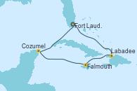 Visitando Fort Lauderdale (Florida/EEUU), Labadee (Haiti), Falmouth (Jamaica), Cozumel (México), Fort Lauderdale (Florida/EEUU)
