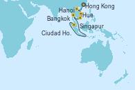 Visitando Hong Kong (China), Hong Kong (China), Hanoi (Vietnam), Hanoi (Vietnam), Hue (Vietnam), Ciudad Ho Chi Minh (Vietnam), Bangkok (Tailandia), Bangkok (Tailandia), Singapur y Singapur