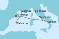 Visitando Barcelona, Palma de Mallorca (España), Marsella (Francia), La Spezia, Florencia y Pisa (Italia), Civitavecchia (Roma), Nápoles (Italia), Barcelona