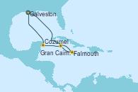 Visitando Galveston (Texas), Falmouth (Jamaica), Gran Caimán (Islas Caimán), Cozumel (México), Galveston (Texas)
