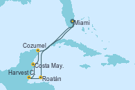 Visitando Miami (Florida/EEUU), Roatán (Honduras), Harvest Caye (Belize), Costa Maya (México), Cozumel (México) y Miami (Florida/EEUU)
