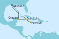 Visitando Galveston (Texas), Cozumel (México), Gran Caimán (Islas Caimán), Falmouth (Jamaica) y Galveston (Texas)