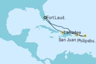 Visitando Fort Lauderdale (Florida/EEUU), Philipsburg (St. Maarten), San Juan (Puerto Rico), Labadee (Haiti) y Fort Lauderdale (Florida/EEUU)