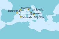 Visitando Civitavecchia (Roma), Nápoles (Italia), Barcelona, Palma de Mallorca (España), Marsella (Francia), La Spezia, Florencia y Pisa (Italia), Civitavecchia (Roma)