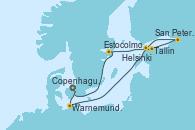 Visitando Copenhague (Dinamarca), Warnemunde (Alemania), Tallin (Estonia), San Petersburgo (Rusia), San Petersburgo (Rusia), Helsinki (Finlandia), Estocolmo (Suecia), Copenhague (Dinamarca)