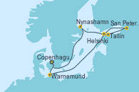 Visitando Copenhague (Dinamarca),Warnemunde (Alemania),Navegación,Tallin (Estonia),San Petersburgo (Rusia),San Petersburgo (Rusia),Helsinki (Finlandia),Nynashamn (Suecia),Navegación,Copenhague (Dinamarca)