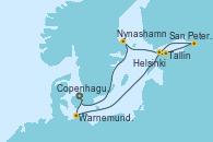 Visitando Copenhague (Dinamarca),Warnemunde (Alemania),Navegación,Tallinn (Estonia),San Petersburgo (Rusia),San Petersburgo (Rusia),Helsinki (Finlandia),Nynashamn (Suecia),Navegación,Copenhague (Dinamarca)