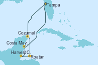 Visitando Tampa (Florida), Cozumel (México), Roatán (Honduras), Harvest Caye (Belize), Costa Maya (México), Tampa (Florida)