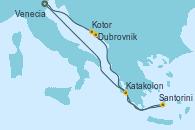 Visitando Venecia (Italia), Dubrovnik (Croacia), Kotor (Montenegro), Santorini (Grecia), Katakolon (Olimpia/Grecia) y Venecia (Italia)