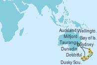 Visitando Sydney (Australia), Milfjord Sound (Nueva Zelanda), Doubtful Sound (Nueva Zelanda), Dusky Sound (Nueva Zelanda), Dunedin (Nueva Zelanda), Wellington (Nueva Zelanda), Tauranga (Nueva Zelanda), Auckland (Nueva Zelanda), Bay of Islands (Nueva Zelanda), Sydney (Australia)