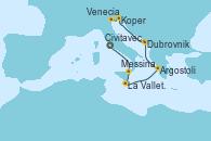 Visitando Civitavecchia (Roma), Messina (Sicilia), La Valletta (Malta), Argostoli (Grecia), Dubrovnik (Croacia), Koper (Eslovenia) y Venecia (Italia)