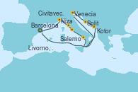 Visitando Barcelona, Niza (Francia), Livorno, Pisa y Florencia (Italia), Civitavecchia (Roma), Salerno (Italia), Venecia (Italia), Venecia (Italia), Split (Croacia), Kotor (Montenegro) y Barcelona