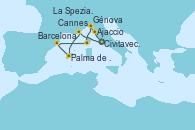 Visitando Civitavecchia (Roma), Cannes (Francia), Palma de Mallorca (España), Barcelona, Ajaccio (Córcega), Génova (Italia), La Spezia, Florencia y Pisa (Italia) y Civitavecchia (Roma)