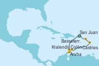 Visitando San Juan (Puerto Rico), Aruba (Antillas), Colón, Kralendijk (Antillas), Castries (Santa Lucía/Caribe), Basseterre (Antillas), San Juan (Puerto Rico)