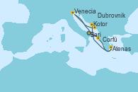 Visitando Bari (Italia), Corfú (Grecia), Atenas (Grecia), Kotor (Montenegro), Dubrovnik (Croacia), Venecia (Italia) y Bari (Italia)