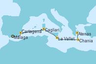 Visitando Málaga,Cartagena (Murcia),Navegación,Cagliari (Cerdeña),La Valletta (Malta),Navegación,Chania (Creta/Grecia),Atenas (Grecia)