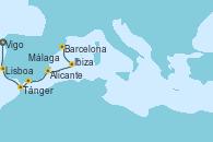 Visitando Vigo (España), Lisboa (Portugal), Tánger (Marruecos), Málaga, Alicante (España), Ibiza (España) y Barcelona