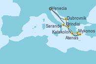Visitando Venecia (Italia), Brindisi (Italia), Katakolon (Olimpia/Grecia), Mykonos (Grecia), Atenas (Grecia), Sarande (Albania), Dubrovnik (Croacia) y Venecia (Italia)