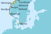 Visitando Trondheim (Noruega), Aalesund (Noruega), Geiranger (Noruega), Hellesylt (Noruega), Nordfjordeid, Bergen (Noruega), Stavanger (Noruega), Malmo (Suecia)