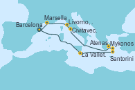 Visitando Barcelona, La Valletta (Malta), Santorini (Grecia), Mykonos (Grecia), Atenas (Grecia), Civitavecchia (Roma), Livorno, Pisa y Florencia (Italia), Marsella (Francia) y Barcelona