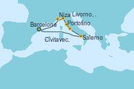 Visitando Barcelona, Niza (Francia), Portofino (Italia), Livorno, Pisa y Florencia (Italia), Civitavecchia (Roma), Salerno (Italia) y Barcelona