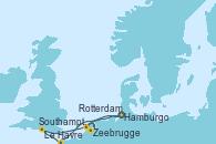 Visitando Hamburgo (Alemania), Le Havre (Francia), Southampton (Inglaterra), Zeebrugge (Bruselas), Rotterdam (Holanda), Rotterdam (Holanda) y Hamburgo (Alemania)