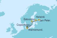 Visitando Copenhague (Dinamarca), Warnemunde (Alemania), Estocolmo (Suecia), Helsinki (Finlandia), San Petersburgo (Rusia) y Copenhague (Dinamarca)