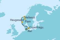 Visitando Kiel (Alemania), Copenhague (Dinamarca), Hellesylt (Noruega), Flam (Noruega), Haugesund (Noruega) y Kiel (Alemania)