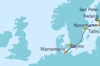 Visitando Helsinki (Finlandia), San Petersburgo (Rusia), San Petersburgo (Rusia), Tallin (Estonia), Nynashamn (Suecia), Warnemunde (Alemania) y Malmo (Suecia)