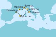 Visitando Barcelona,Palma de Mallorca (España),Navegación,Civitavecchia (Roma),La Spezia, Florencia y Pisa (Italia),Savona (Italia),Marsella (Francia),Barcelona