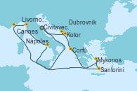 Visitando Civitavecchia (Roma), Kotor (Montenegro), Dubrovnik (Croacia), Corfú (Grecia), Santorini (Grecia), Mykonos (Grecia), Nápoles (Italia), Livorno, Pisa y Florencia (Italia), Cannes (Francia), Civitavecchia (Roma)