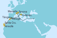 Visitando Málaga, Civitavecchia (Roma), Savona (Italia), Marsella (Francia), Arrecife (Lanzarote/España), Santa Cruz de Tenerife (España), Tánger (Marruecos) y Málaga