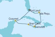 Visitando Fort Lauderdale (Florida/EEUU), Isla Pequeña (San Salvador/Bahamas), Falmouth (Jamaica), Gran Caimán (Islas Caimán), Cozumel (México), Fort Lauderdale (Florida/EEUU)
