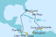 Visitando Fort Lauderdale (Florida/EEUU), Isla Pequeña (San Salvador/Bahamas), Aruba (Antillas), Curacao (Antillas), Cartagena de Indias (Colombia), Lago Gatun (Panamá), Colón (Panamá), Puerto Limón (Costa Rica), Fort Lauderdale (Florida/EEUU)