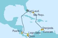 Visitando Fort Lauderdale (Florida/EEUU), Isla Pequeña (San Salvador/Bahamas), Aruba (Antillas), Curacao (Antillas), Lago Gatun (Panamá), Colón (Panamá), Puerto Limón (Costa Rica), Fort Lauderdale (Florida/EEUU)