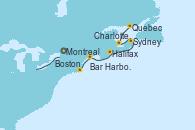 Visitando Montreal (Canadá), Quebec (Canadá), Charlottetown (Canadá), Sydney (Nueva Escocia/Canadá), Halifax (Canadá), Bar Harbor (Maine), Boston (Massachusetts)