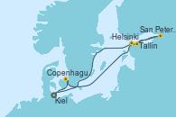 Visitando Kiel (Alemania), Copenhague (Dinamarca), Helsinki (Finlandia), San Petersburgo (Rusia), Tallin (Estonia) y Kiel (Alemania)