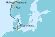 Visitando Copenhague (Dinamarca), Hellesylt (Noruega), Aalesund (Noruega), Flam (Noruega), Kiel (Alemania) y Copenhague (Dinamarca)