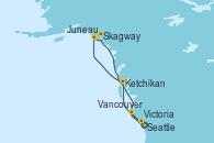 Visitando Seattle (Washington/EEUU), Ketchikan (Alaska), Juneau (Alaska), Skagway (Alaska), Victoria (Canadá), Vancouver (Canadá)