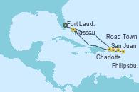 Visitando Fort Lauderdale (Florida/EEUU), San Juan (Puerto Rico), Charlotte Amalie (St. Thomas), Philipsburg (St. Maarten), Road Town (Isla Tórtola/Islas Vírgenes), Nassau (Bahamas), Fort Lauderdale (Florida/EEUU)