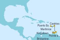 Visitando Pointe a Pitre (Guadalupe), Puerto España (Trinidad y Tobago), Kingstown (Granadinas), Bridgetown (Barbados), Castries (Santa Lucía/Caribe), Martinica (Antillas), Pointe a Pitre (Guadalupe)