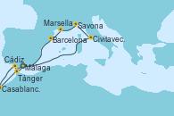 Visitando Málaga, Civitavecchia (Roma), Savona (Italia), Marsella (Francia), Barcelona, Cádiz (España), Casablanca (Marruecos), Tánger (Marruecos) y Málaga