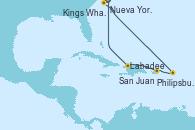 Visitando Nueva York (Estados Unidos), Kings Wharf (Bermudas), Philipsburg (St. Maarten), San Juan (Puerto Rico), Labadee (Haiti), Nueva York (Estados Unidos)
