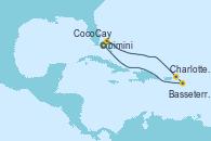 Visitando Puerto Cañaveral (Florida), CocoCay (Bahamas), Charlotte Amalie (St. Thomas), Basseterre (Antillas), Puerto Cañaveral (Florida)