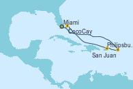 Visitando Miami (Florida/EEUU), Philipsburg (St. Maarten), San Juan (Puerto Rico), CocoCay (Bahamas) y Miami (Florida/EEUU)