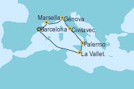 Visitando Barcelona,Marsella (Francia),Génova (Italia),Civitavecchia (Roma),Palermo (Italia),La Valletta (Malta),Navegación,Barcelona